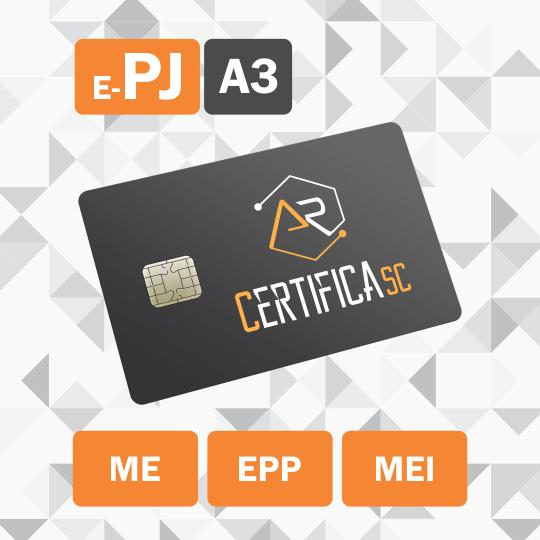Certificado Digital para Pessoa Jurídica A3 de 18 meses em cartão para ME/EPP/MEI (e-PJ A3)
